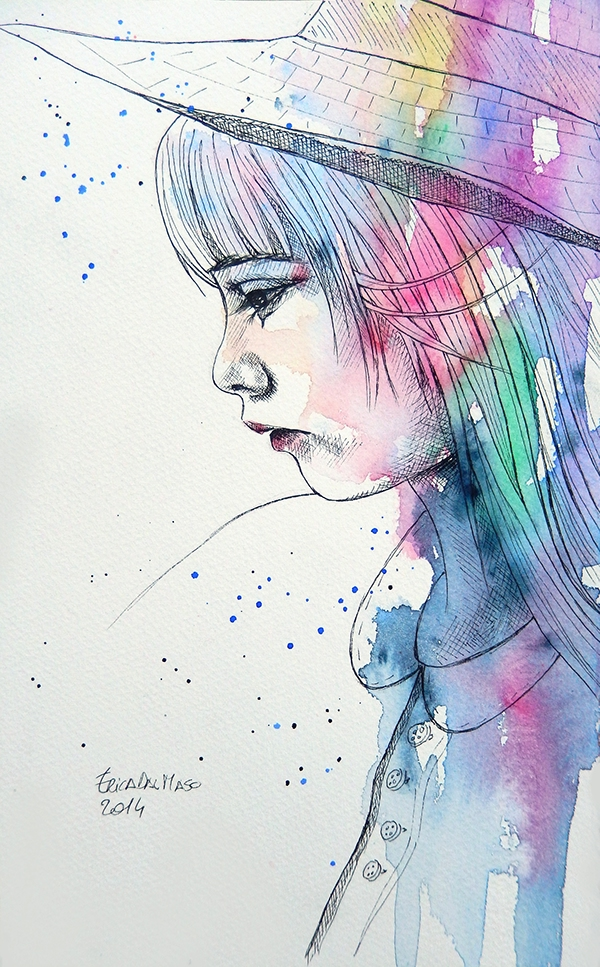 Pen portraits with a bit of watercolor on Behance