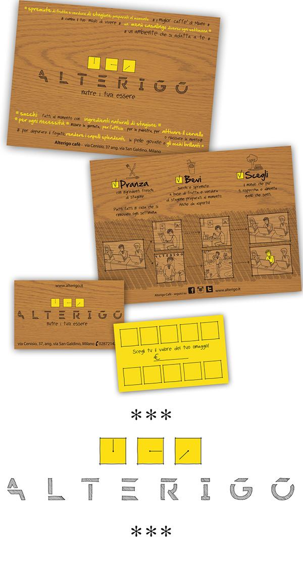 Food  drink cafe natural wood alldaylong promocard businesscard Infographie comics Nature milan