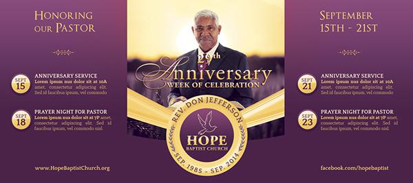 pastor anniversary banner template on behance