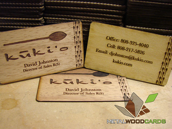 Kukio Bamboo & Hawaiian Koa Wood Business Cards