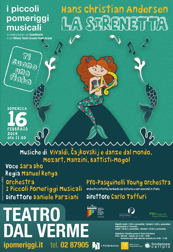 littlemermaid mermaid concert orchestra milan Theatre kids andersen mozart gig poster GigPoster