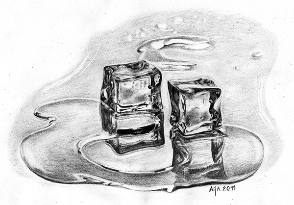 Ice Cubes Drawing Ice Cubes Melting Drawing on