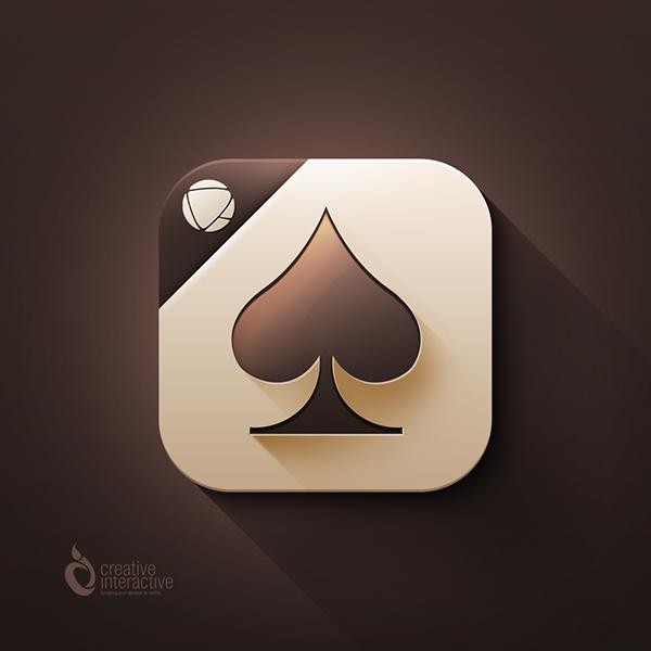 iOS 7  game   app icon  spades  cards  mobile  iphone  ipad brown  cream  iOS