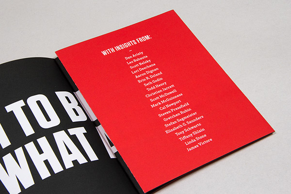 99U print design brochure poster quote inspirational red black modern simple clean book fold out type