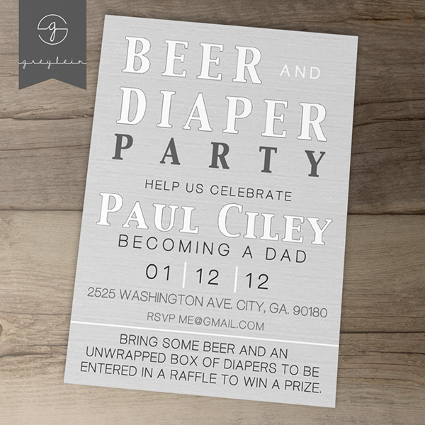 Printable Invites Beer and Diaper Party on Behance