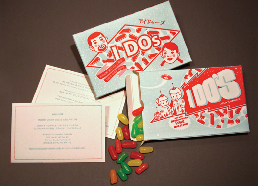 wedding invitation candy annoucement