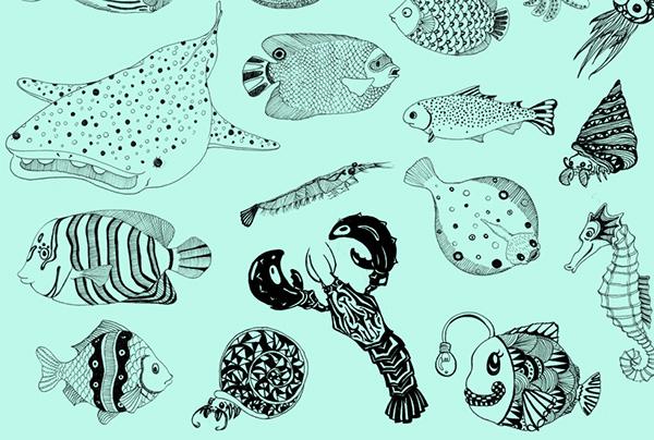 Line Drawings Of Ocean Animals : Sea creatures on wacom gallery