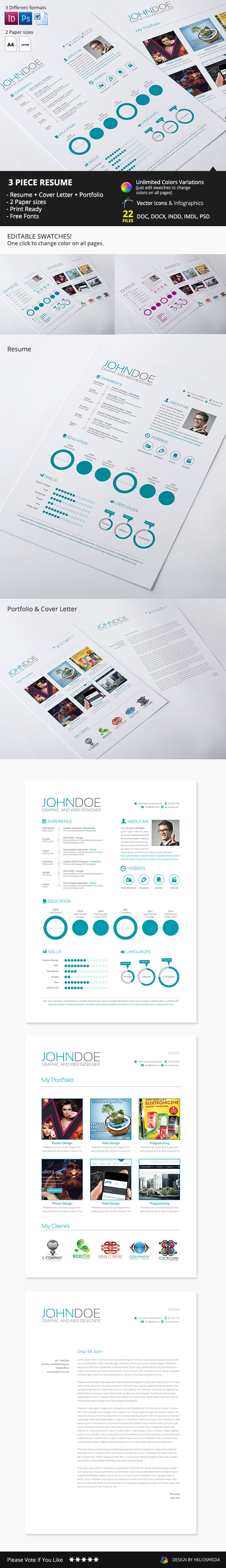 3-piece resume,Any color,clean,cover letter,creative,template,Curriculum Vitae,CV,easy to,Customize,elegant,InDesign,minimalist,design,modern