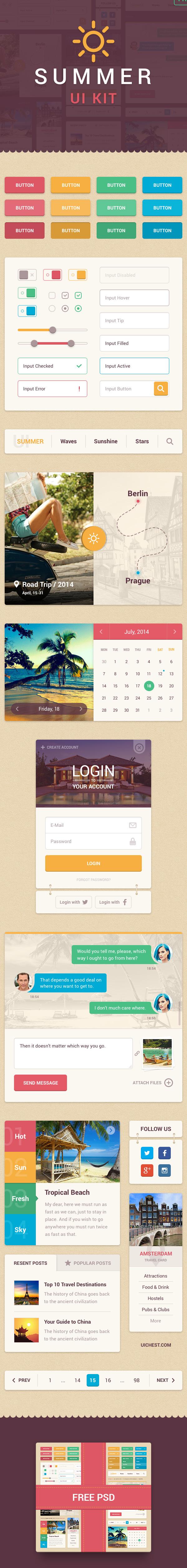 UI ui kit Interface user interface summer free psd freebie calendar menu messages Chat buttons login widgets
