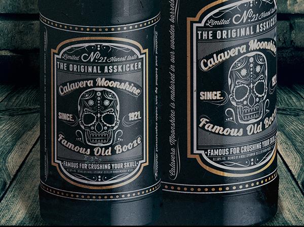 **Calavera Moonshine** Label and bottle design on Behance