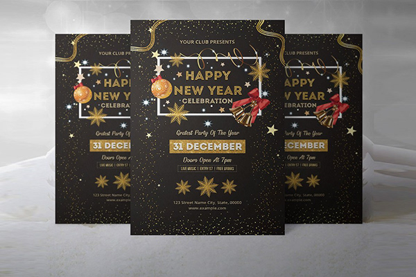 new year party invitation flyer template