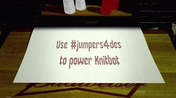 Budweiser knitbot #jumpers4des jumpers Christmas