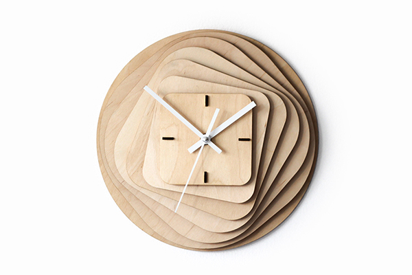 Roundsquare Wooden Clock On Behance