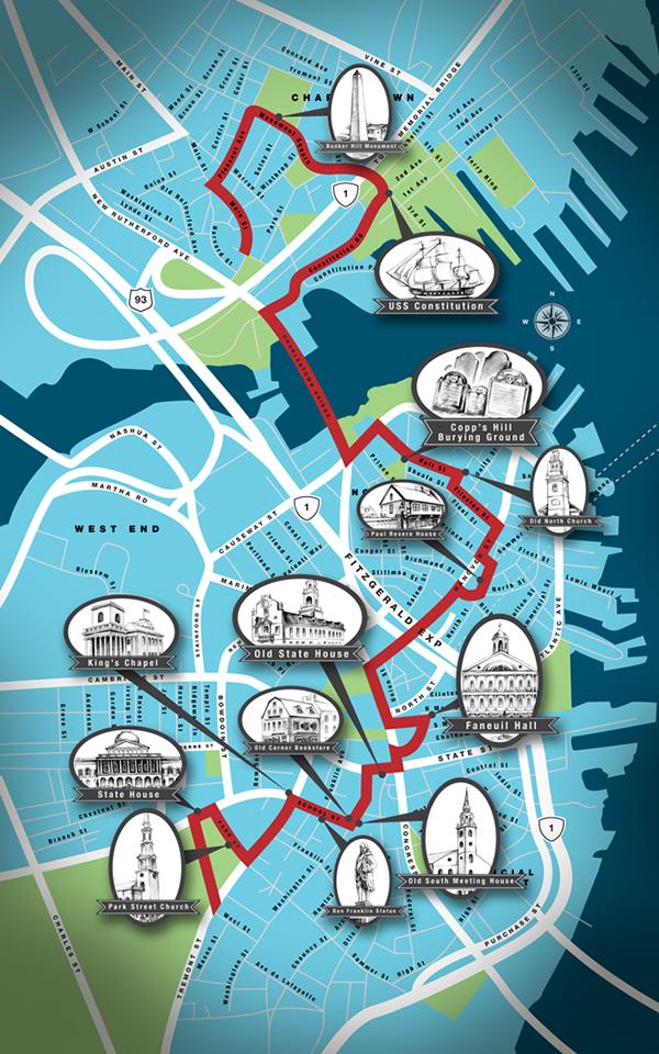 Boston Freedom Trail Map On Behance: Freedom Trail Boston Map At Slyspyder.com