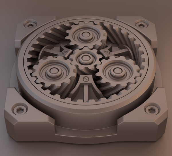 3D visualization helical clockwork gif planetary Gear blender cycles