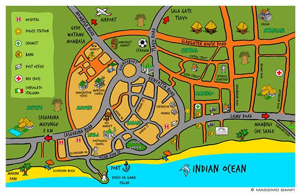 kenya Malindi map Printing map Massimo Banfi Watamu