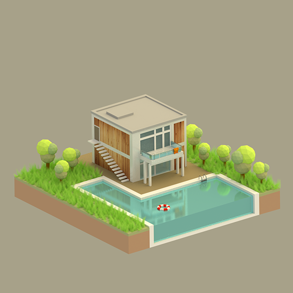 Free 3d Home Design Software Uk: Low Poly House (just For Fun) On Behance
