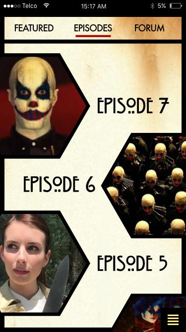 American Horror Story App mockup on Behance