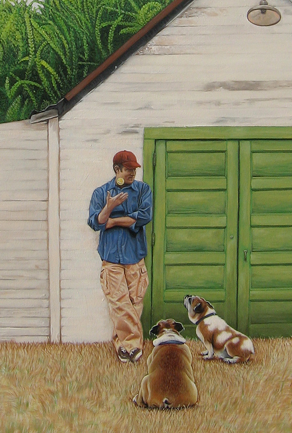 landscapes,skies,figure,dogs,pets,scenic,Oil Painting,clouds,Panoramic View,buildings,house,barn,grass,fields,animals