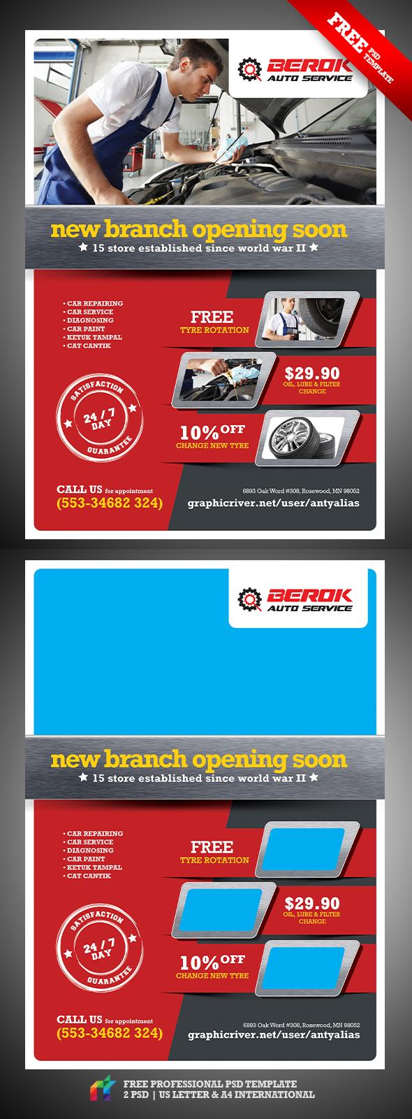 berok auto services psd flyer bies on behance