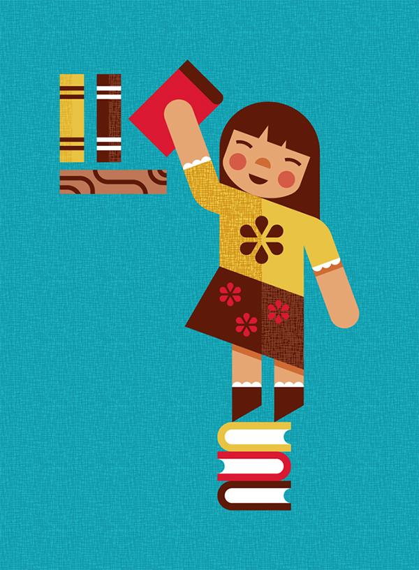 target  education children kids Reading minimal modern dog pencil instrument Diversity book flat plaid