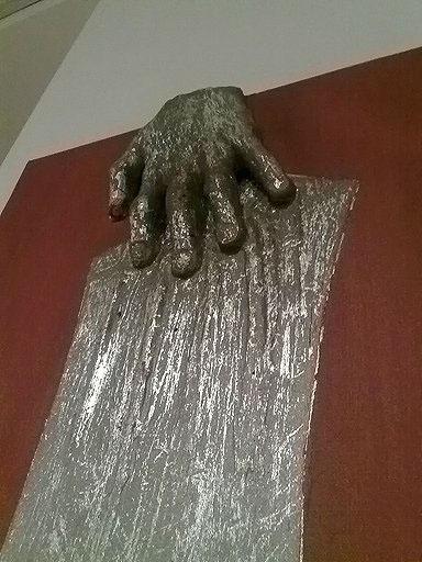 silver leaf Acrylic paint canvas mixed media sculpture