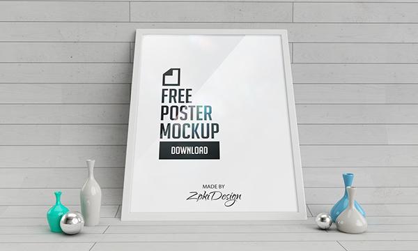 free poster Mockup zoki design 3D studio Grafic mock-up download Poster Mockup realistic render vases curved wall parquet