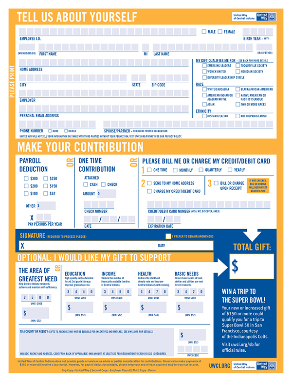 2015 United Way Of Central Indiana Pledge Form On The Art