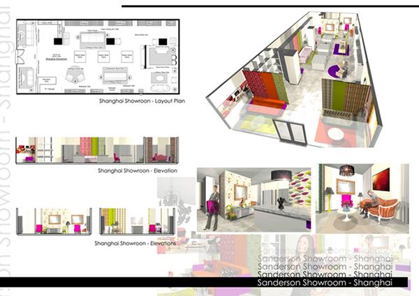 Showroom design sanderson shanghai shenzhen on behance for Interior design plans elevations