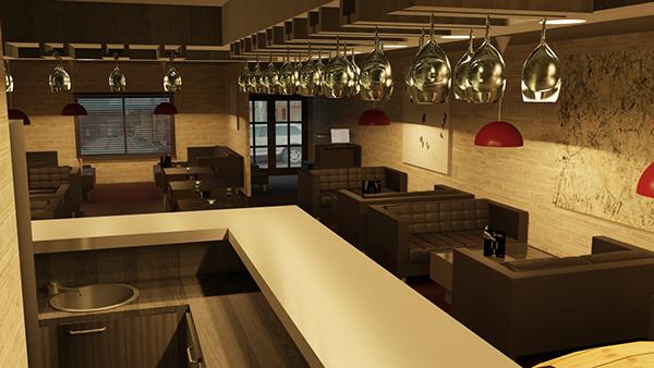 Pomme Raisins Wine Bar 3D Visualization On Behance