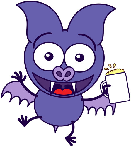 Cute bat celebrating with beer