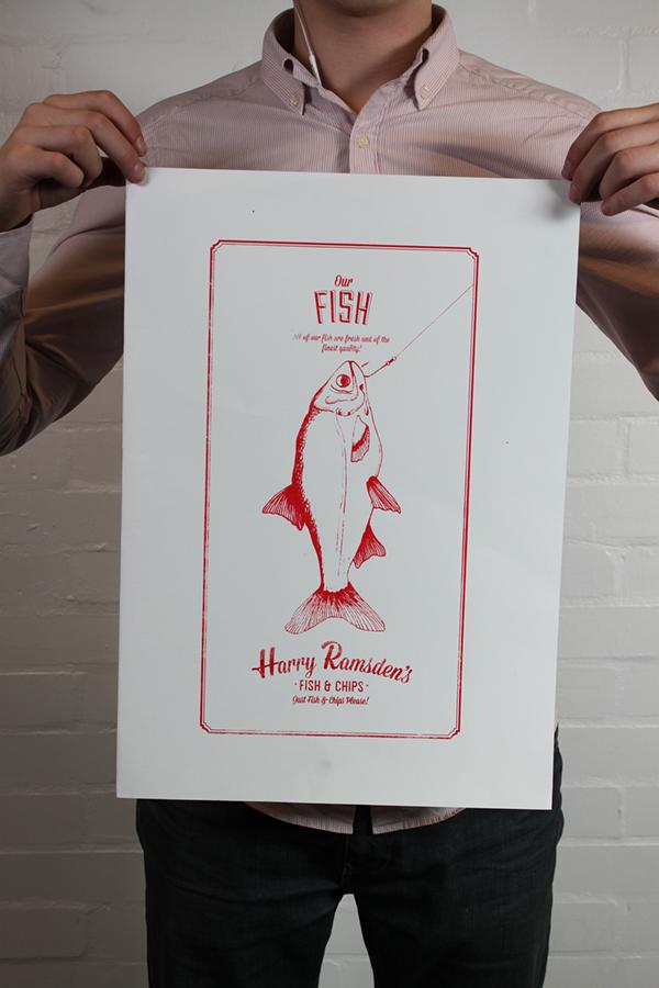Harry Ramsden's design logo screen print print Alex Holland Harry Ramsdens brand