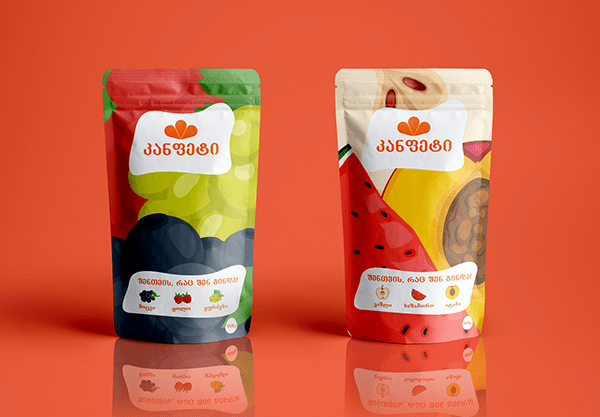 Dry fruits Packaging for Kanfeti.
