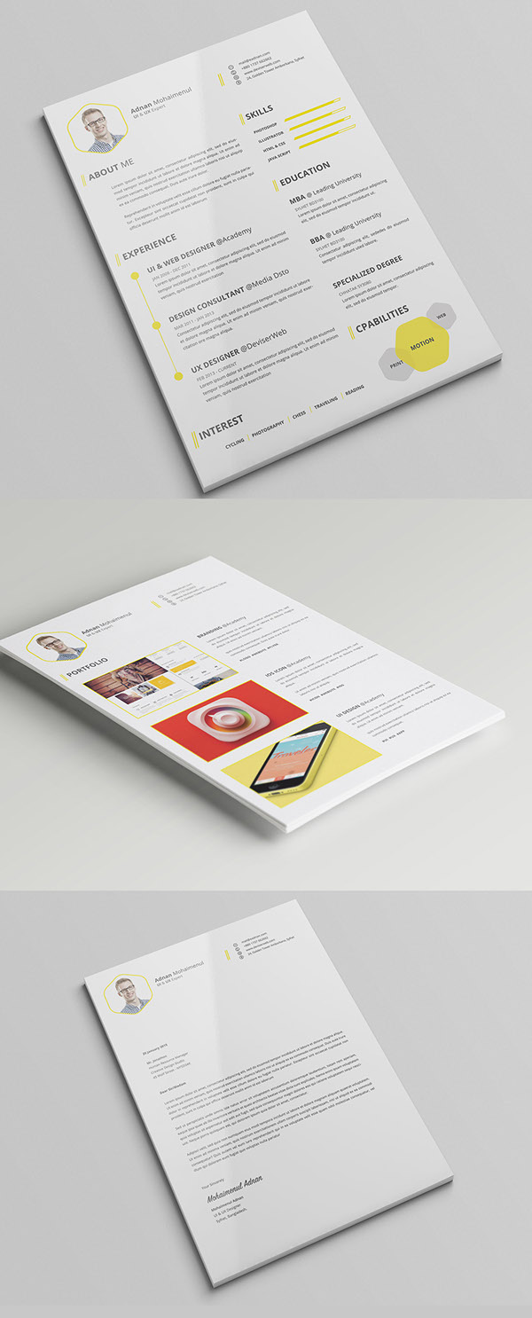 premium cv  resume psd template with cover letter on behance