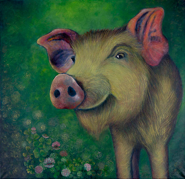 oil acrylic piglet wild sow Nature animal iguana TIT camille pig clover happy art home decoration