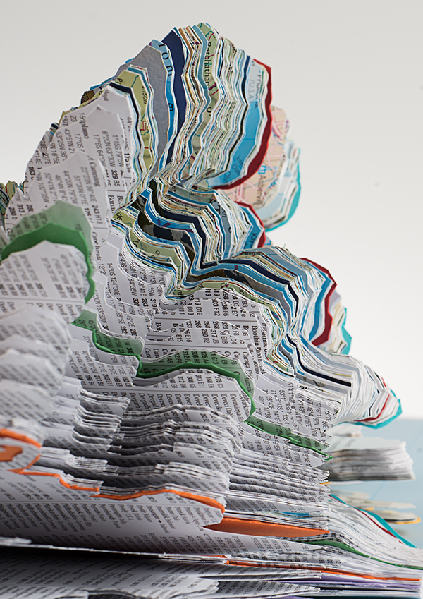 This project was a themed brief based around the word 'PAPER' An A3 atlas was cut up so each page represented World Map represents 376 099 tonnes of paper consumed a yea being exhibited at a paper exhibition