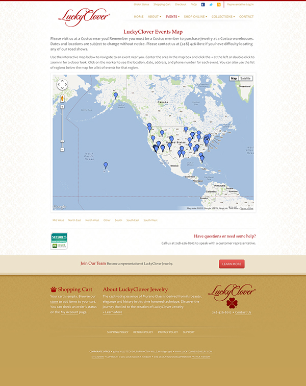 LuckyClover Jewelry Web Site On Behance - Costco us locations map
