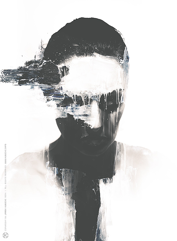 kubicki woman face emotions White black dark wacom photoshop print canvas