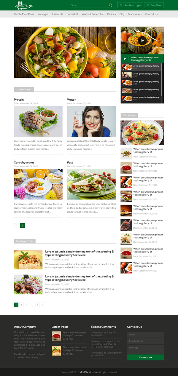 Healthy foods recipes website template design on student show healthy foods recipes website template design forumfinder Gallery