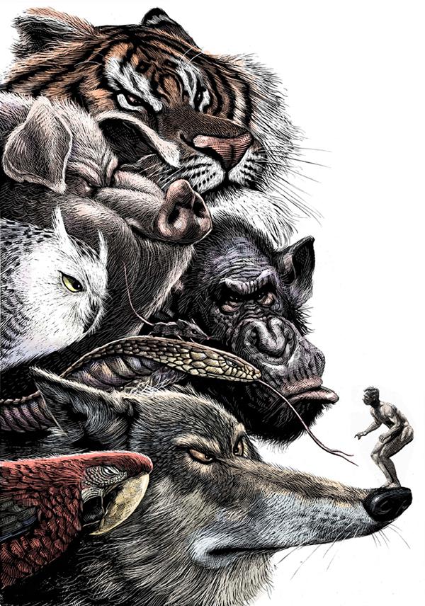 scratchboard editorial news  Satire animals