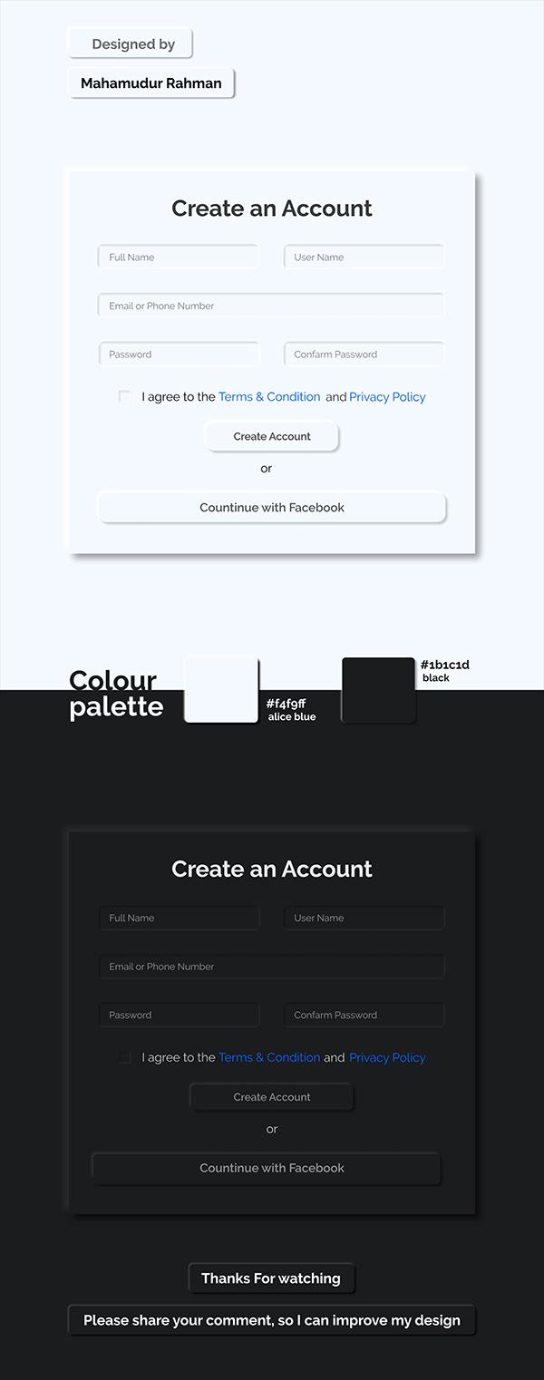 Neomorphic-Create an Account UI
