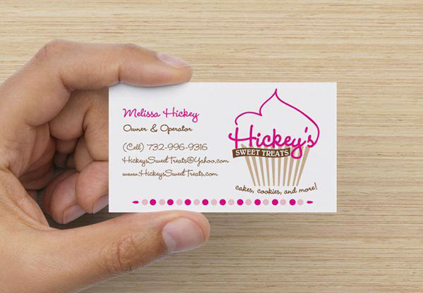 Hickeys Sweet Treats Logo Business Card Promotional On Pantone
