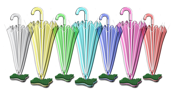 Umbrella enever grass