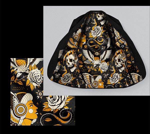 Tattoo Flash // Suit Fabric Design