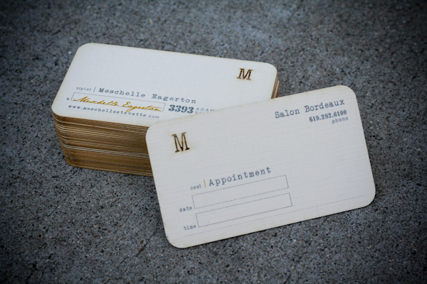 Meschelle eagerton business cards on behance the outer paper is a textured cream paper with the middle ply being the mustard color which matches her signature on the front of the card reheart Choice Image
