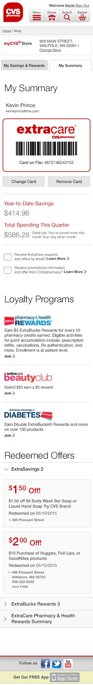 cvs extracare savings and rewards on behance