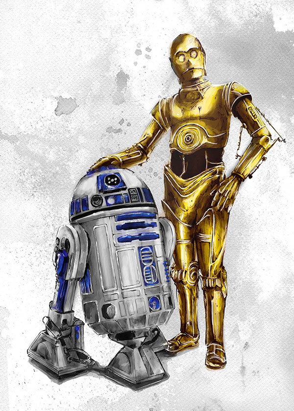 R2D2//C3PO on Wacom GalleryR2d2 And C3po Drawing