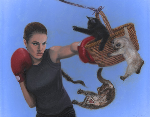 Angelina Jolie kittens falling portrait Celebrity Boxing basket