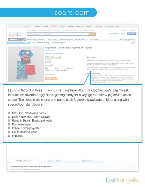 Ecommerce Retail Clothing Product description catalog