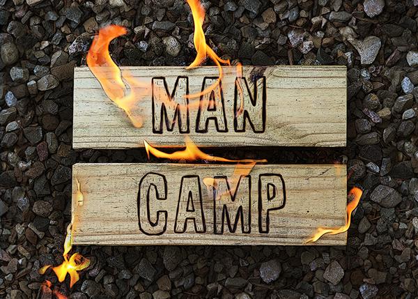 Man Camp Miracle Camp Christian Camping postcard design